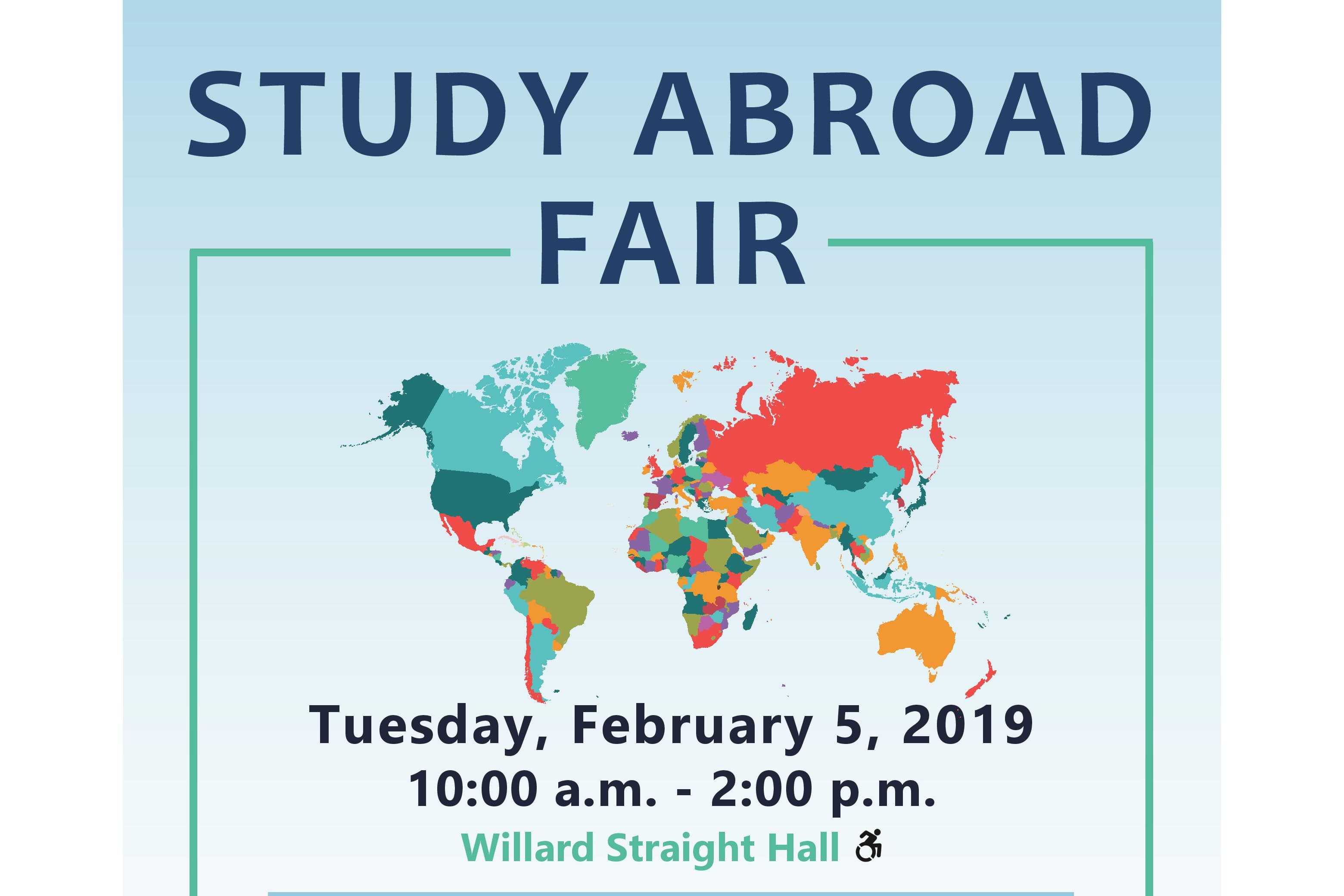 Study Abroad Fair, Tuesday, February 5, 2019