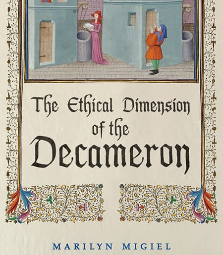 "Cover of the ""Ethical Dimension of the Decameron"" with medieval manuscript"