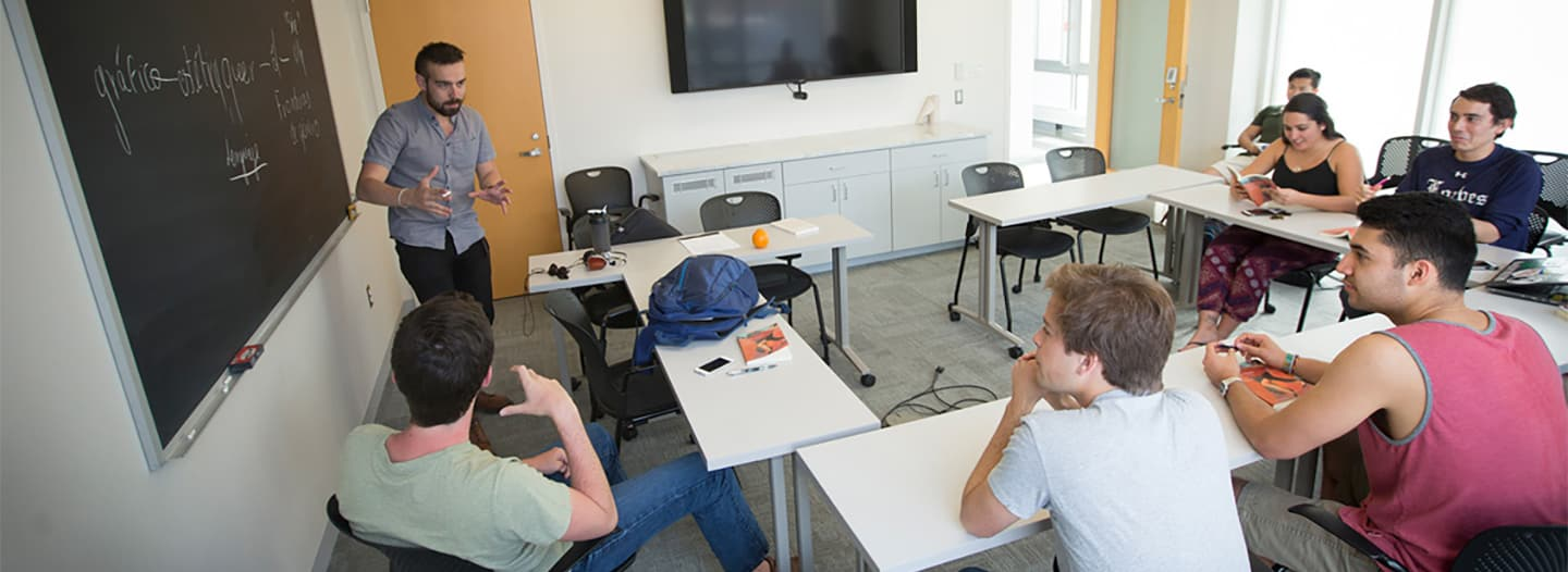 Students and professor in class